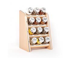 Gald Gewürzregal, Küchenregal für Gewürze und Kräuter, 12 Gläser, Holz, Naturell/glänzend, 17 x 27 x 15 cm