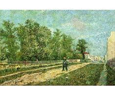 OdsanArt 12 x 8 cm, Impressionismus andere Man mit Spaten in der ParisSuburb, Vincent van Gogh Hochwertiger, edler Kunstdruck auf Leinwand