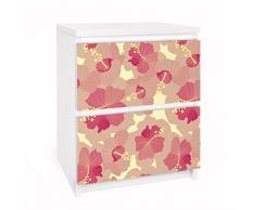 Apalis 91082 Möbelfolie für Ikea Malm Kommode - Selbstklebe Gelbes Hibiskus Blumenmuster, größe 2 mal, 20 x 40 cm