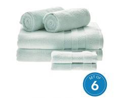 iDesign 6er-Set Badtextilien für das Badezimmer oder Gäste-WC, weiches Handtücherset aus 100% Baumwolle, Handtuch Set mit je 2 Handtüchern, Badetüchern & Waschlappen, hellblau