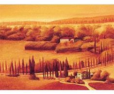 Eurographics LEW1004 Leon Wells, Cypres Line 60 x 80 cm, Hochwertiger Kunstdruck - Toskana - Landschaft