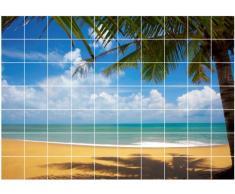Graz Design 761008_15x15_100 Fliesen-aufkleber/dekor/Folie/bild für Bad Küche, Strand mit Meerblick, 15 x 15 cm, Anzahl Fliesen 10 breit und 7 hoch, natur