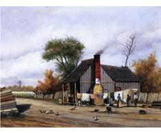 OdsanArt 20 x 15 cm, Impressionismus andere T-plan Duschkabine mit Porchvon William Aiken Walker Hochwertiger edler Kunstdruck auf Leinwand