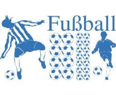 Graz Design 770078_100x57_053 Wandtattoo Set Kinderzimmer Fuball Blle mit Fuballspieler Jungs 100x57cm Hellblau