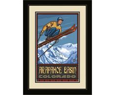 Northwest Art Mall pal-5278 mfgdm SJ Arapahoe Waschbecken Colorado Skispringer gerahmtes Wandbild Art von Künstler Paul A. lanquist, 33 x 40,6 cm