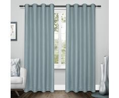 Exclusive Home Vorhänge Tweed Strukturierte Leinen gewebt Blackout Tülle Top Fenster Vorhang Panel, türkis, 52 x 84 Zoll, 2 Stück