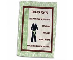 3dRose Dojo Kun-Japanese Martial Arts-Karate Rules-Green Belt Handtücher, weiß, 15 x 22