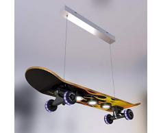 Evotec EASY CRUISER FLAME LED Skateboard - Pendelleuchte 7-flg. / 3000K / 14W / 1340 Lumen/Wheels RGB/Lichtsteuerung per Fernbedienung, Holz, 14 W, Transparent, Small