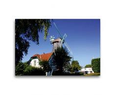 Calvendo Premium Textil-Leinwand 75 cm x 50 cm quer, Mühle Anna in Rieseby   Wandbild, Bild auf Keilrahmen, Fertigbild auf echter Leinwand, Leinwanddruck: Windmühle in Schleswig-Holstein Natur Natur