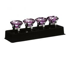 Premier Housewares Serviettenringe, 4er Set, Lila Diamante, Chrome beschichted