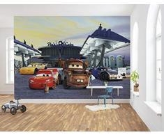 Komar Disney Fototapete CARS3 Station | Größe: 368 x 254 cm (Breite x Höhe), 8 Teile Tapete, Kinder, Wand, Kinderzimmer, Dekoration - 8-4101,Bunt