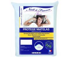Nuit de France 329379Schutzbezug für Matratze Baumwolle/Polyester Weiß, weiß, 180 x 200 cm