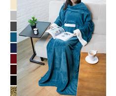 PAVILIA Deluxe Fleece Decke mit Ärmeln für Erwachsene, Herren, und Women  Elegante, Cozy, Warm, Extra Weich, Plüsch, funktional, Leicht Tragbar Überwurf 50 x 70 inches Ozeanblau