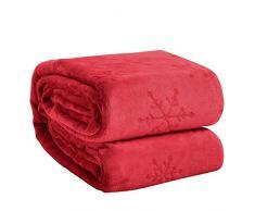 Eternal Moment Fleecedecke, superweiche Flanelldecke, Bettdecke, warme Plüschdecke für Bett, Couch, Reisen Queen rot