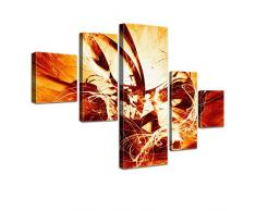 LANA KK - Leinwandbild Graf Fire Orange abstraktes Design auf Echtholz-Keilrahmen – Fotoleinwand-Kunstdruck in orange, fünfteilig & fertig gerahmt in 160x100cm