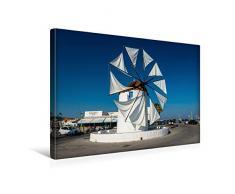 Premium Textil-Leinwand 45 x 30 cm Quer-Format Windmühle am Hafen von Parikia   Wandbild, HD-Bild auf Keilrahmen, Fertigbild auf hochwertigem Vlies, Leinwanddruck von Herbert Fittinghoff