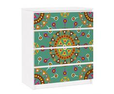 Apalis 91247 Möbelfolie für Ikea Malm Kommode - selbstklebende Ethno Design, größe 4 mal, 20 x 80 cm