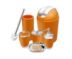 O2 Tech 6-teiliges Badezimmerzubehör-Set aus Kunststoff, Bade-Set mit Lotionsflaschen, Zahnbürstenhalter, Zahnbecher, Seifenschale, Toilettenbürste, Mülleimer Orange
