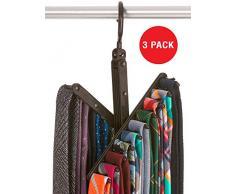 StorageMaid 3er Pack Krawatten & Gürtel Rack Zubehör Organizer - je 20 rutschfeste Kleiderhaken - 360 Grad drehbar - Aufbewahrungslösung für Krawatten und Gürtel - Hochglanz Schwarz