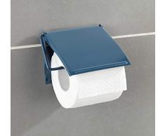 WENKO Toilettenpapierhalter Cover - Papierrollenhalter, geschlossene Form, Stahl, 13.5 x 12 x 2.5 cm, Blau