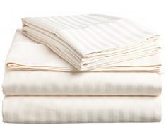 JB Leinen 650 Fadenzahl Hotel Qualität 100% Ägyptische Baumwolle Super Soft-Bettlaken-Set (wählen Sie Größe und Farben) Passform bis 30,5 cm Zoll Tiefe Matratze, Baumwolle, elfenbeinfarben, Twin