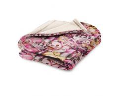 Emoji Total Luxury Fleecedecke, Polyester, Lila, Einzelbett, 190 x 120 x 3 cm