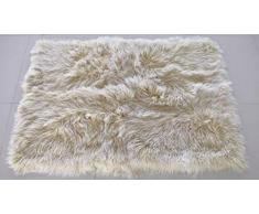 bokke Echte Felldecke aus Tibetlamm Premium Qualität, Natürliches Lammfell, Farbe Vanilla Cream, 90x150cm
