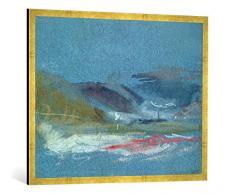 Gerahmtes Bild von Joseph Mallord William Turner River Bank, c.1830, Kunstdruck im hochwertigen handgefertigten Bilder-Rahmen, 100x70 cm, Gold Raya