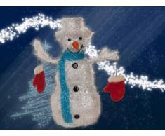 Weihnachtsbeleuchtung Schneemann mit Handschuh, blau
