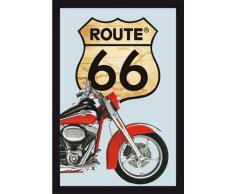 empireposter - Route 66 - Rotes Bike - Größe (cm), ca. 20x30 - Bedruckter Spiegel, NEU - Beschreibung: - Bedruckter Wandspiegel mit schwarzem Kunststoffrahmen in Holzoptik -