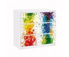 Apalis 91744 Möbelfolie für Ikea Malm Kommode Rainbow Splatter, größe 3 mal, 20 x 80 cm