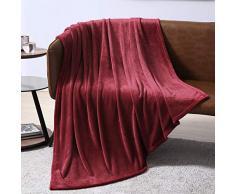 EXQ Home Fleecedecke für Bett oder Couch – superweiche Mikrofaser-Flanelldecke für Erwachsene oder Haustiere (leicht, Nicht fusselnd) Casual Throw rot