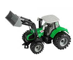 Idena 40290 - Traktor mit beweglichem Frontlader, Schwungradantrieb, Anhängerkupplung und aufklappbarer Motorhaube, ca. 29 cm