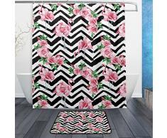 Schönes rosa Flamingos und Rose Blumen auf Chevron Hintergrund Wasserdicht Polyester Stoff Vorhang für die Dusche (152,4 x 182,9 cm) Set mit 12 Haken und Bad-Teppiche Teppiche (59,9 x 39,9 cm) für Badezimmer – Set von 2