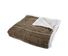 BEDFORD HOME 61A-01121 Twin Fleece & Sherpa Decke Full/Queen Schokolade/Taupe