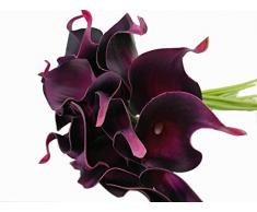 Winterworm Touch Künstliche Latex Blumenstrauß Rosen, Hochzeit und Party Home Garden Restaurant Dekoration - 10 Blüten 35 cm Lila Rot