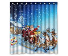 FMSHPON Winter Holiday Frohe Weihnachten Deer Pull The Santa Claus Schneeflocken Schöne Vorhang für die Dusche Größe 167,6 x 182,9 cm