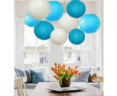 A Liittle Tree 9 Stück gemischte neue runde Papierlaternen Lampenschirme für Hochzeit Geburtstag Party Dekoration Himmel