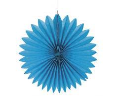 Rayher 87107374 Papier Rosette, 2 Stück, 40cm Ø, azurblau, Partydekoration