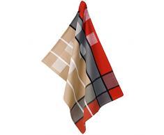 kela Geschirrtuch Tabea Cups im Karodesign 50x70cm aus Baumwolle Red/Grey/Taupe 1 x 70 x 1 cm