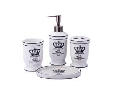 Landhaus Vintage Badset KRONE Badezimmer Zubehör Set Seifenspender WC Bürste Keramik (4er Set)