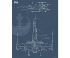 Komar Wandbild Star Wars Blueprint X-Wing | Kinderzimmer, Jugendzimmer, Dekoration, Kunstdruck | ohne Rahmen | WB179-40x50 | Größe: 40 x 50 cm (Breite x Höhe)
