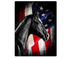 Überwurf, Fleece Decken Decke für Sofa Bett schwarz Pferd Retro American Flagge Knight, Flanell, schwarz / weiß, 127 cm x 203,20 cm