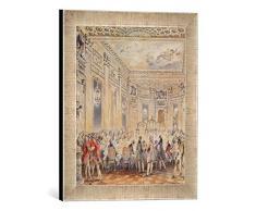 Gerahmtes Bild von Jean Michel Moreau The Younger Feast given by Madame du Barry (1743-93) for Louis XV on 2nd September 1771 at the inauguration of the Pavillon at Louveciennes,, Kunstdruck im hochwertigen handgefertigten Bilder-Rahmen,