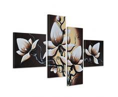 Bilderdepot24 Blumen M1 handgemaltes Leinwandbild 100x70cm 4 teilig 255