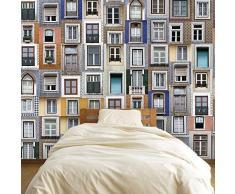 Abnehmbare Selbstklebende Wandaufkleber Lisboa Fenster Wandbild Kunst Aufkleber Vinyl Home Decor DIY Wohnzimmer Schlafzimmer Dekor Tapete Kinderzimmer Geschenk 180 x 120 cm Mehrfarbig
