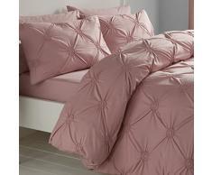 Signature Elissa Delicate 100% Baumwolle, Classic Gerüschte Rosette verziert Bettbezug-Set, Einzelbett, Altrosa, Baumwolle, Blush, Doppelbett