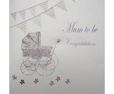 WHITE COTTON CARDS Kinderwagen und Wimpelkette Mum to Be, handgemachte Karte Congratulations