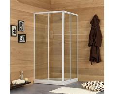 kiamami Valentina Erice Duschkabine ausziehbar 80–90cm Profil weiß aus aluminium, mittelgroß