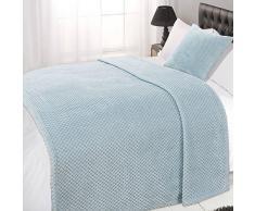 Dreamscene Luxus Waffel Honeycomb Mink weicher Warm Überwurf über Sofa Bett Decke, 125 x 150 cm, Duck Egg